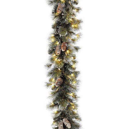 Add natural appeal to your mantel with this elegant garland, showcasing frosted pinecone accents against the glow of clear lights.  ...