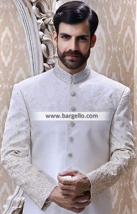 Dashing Off White Embellished Sherwani Suit Groom North Carolina Indian Sherwani