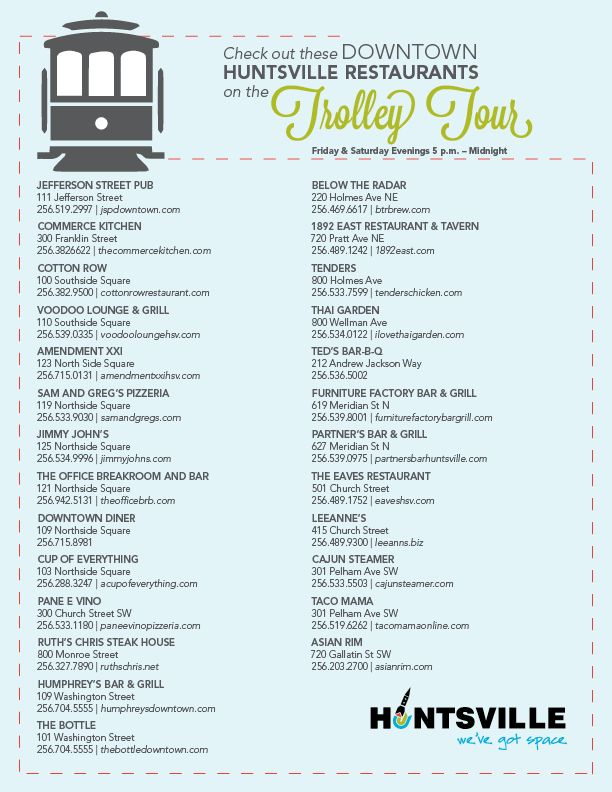 Check Out These Restaurants On The Free Downtown Trolley Route East Restaurant Downtown Downtown Huntsville