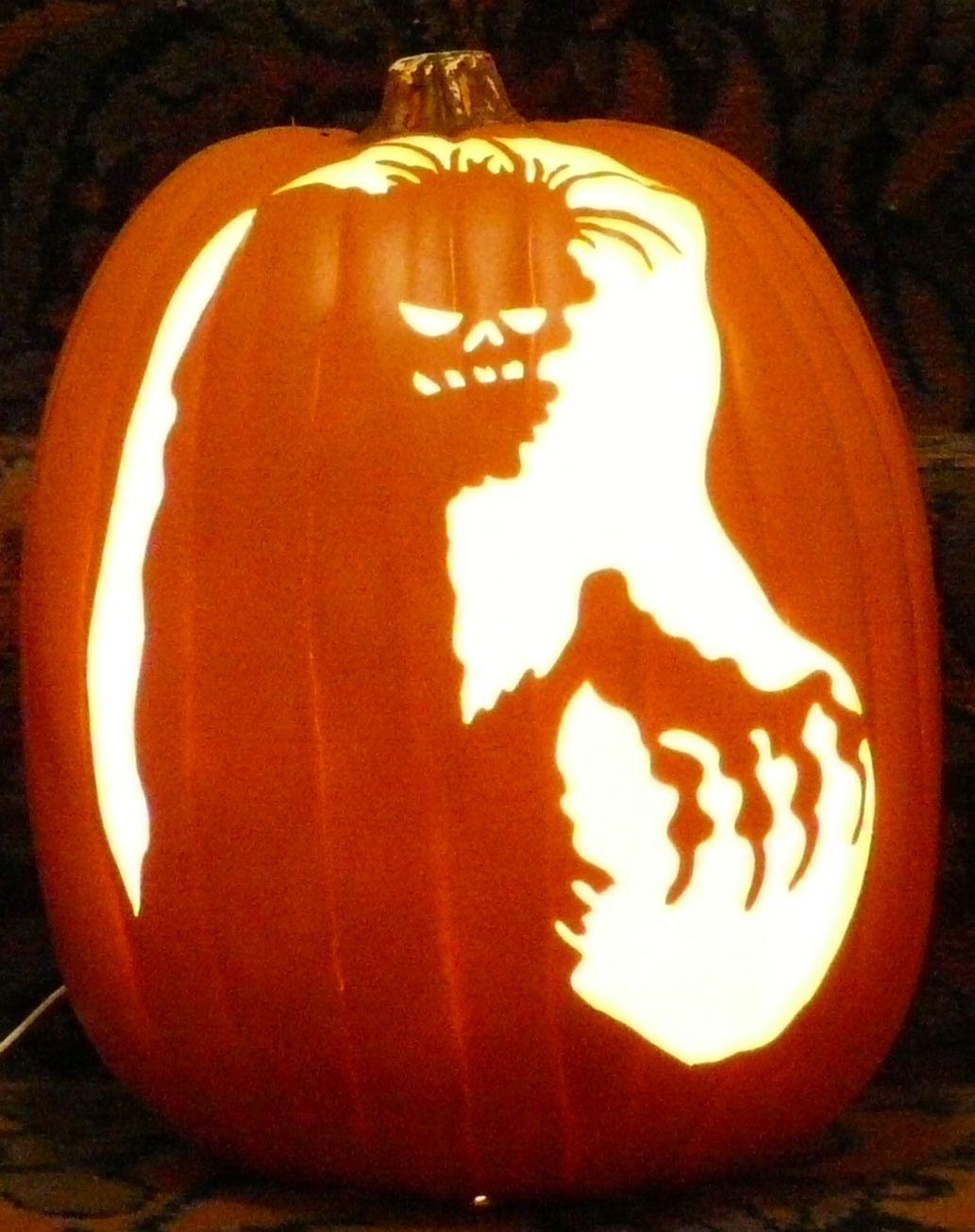Zombie pattern I carved on a foam pumpkin.