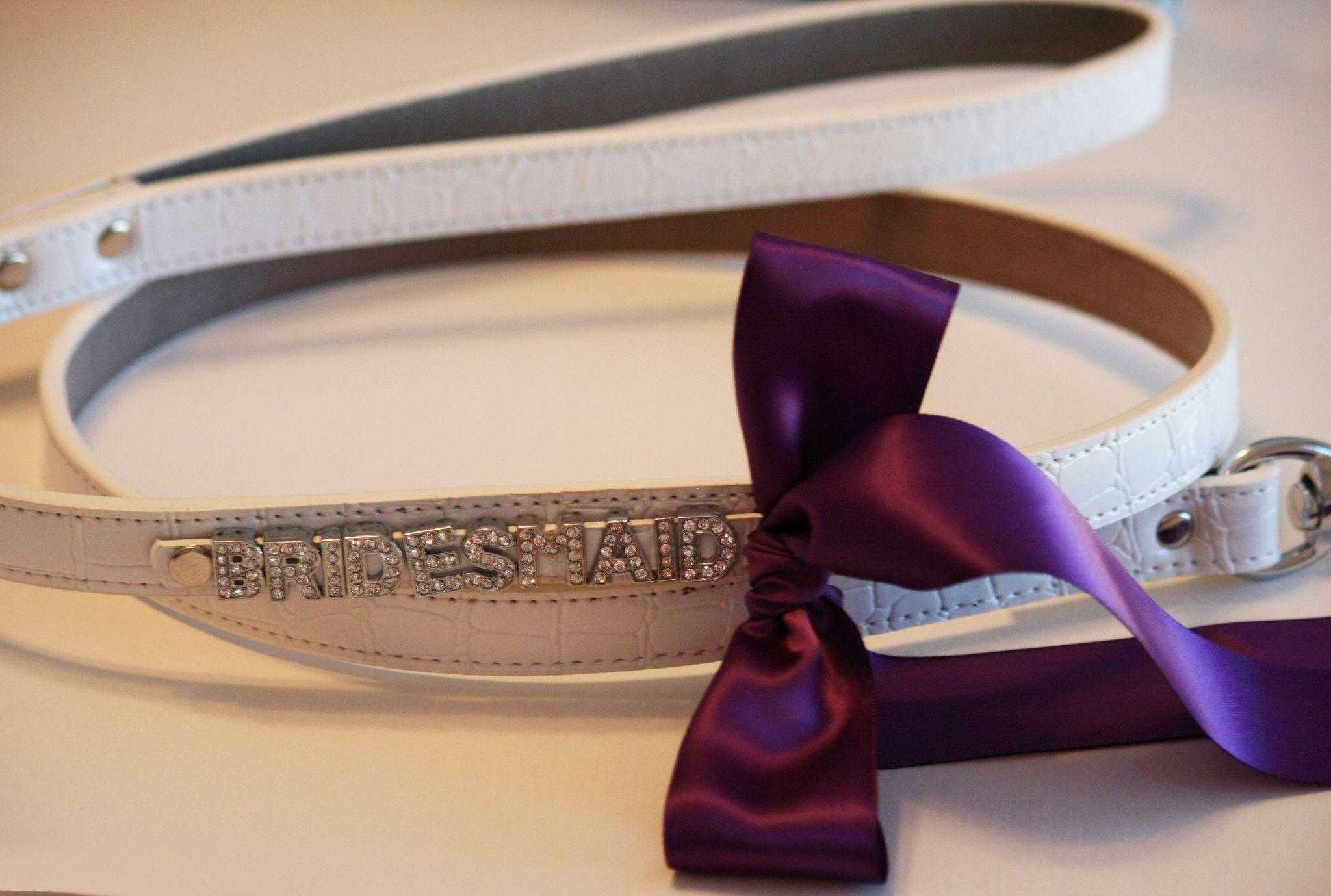 White Leather Dog Leash, Pet Wedding Accessory, White Dog