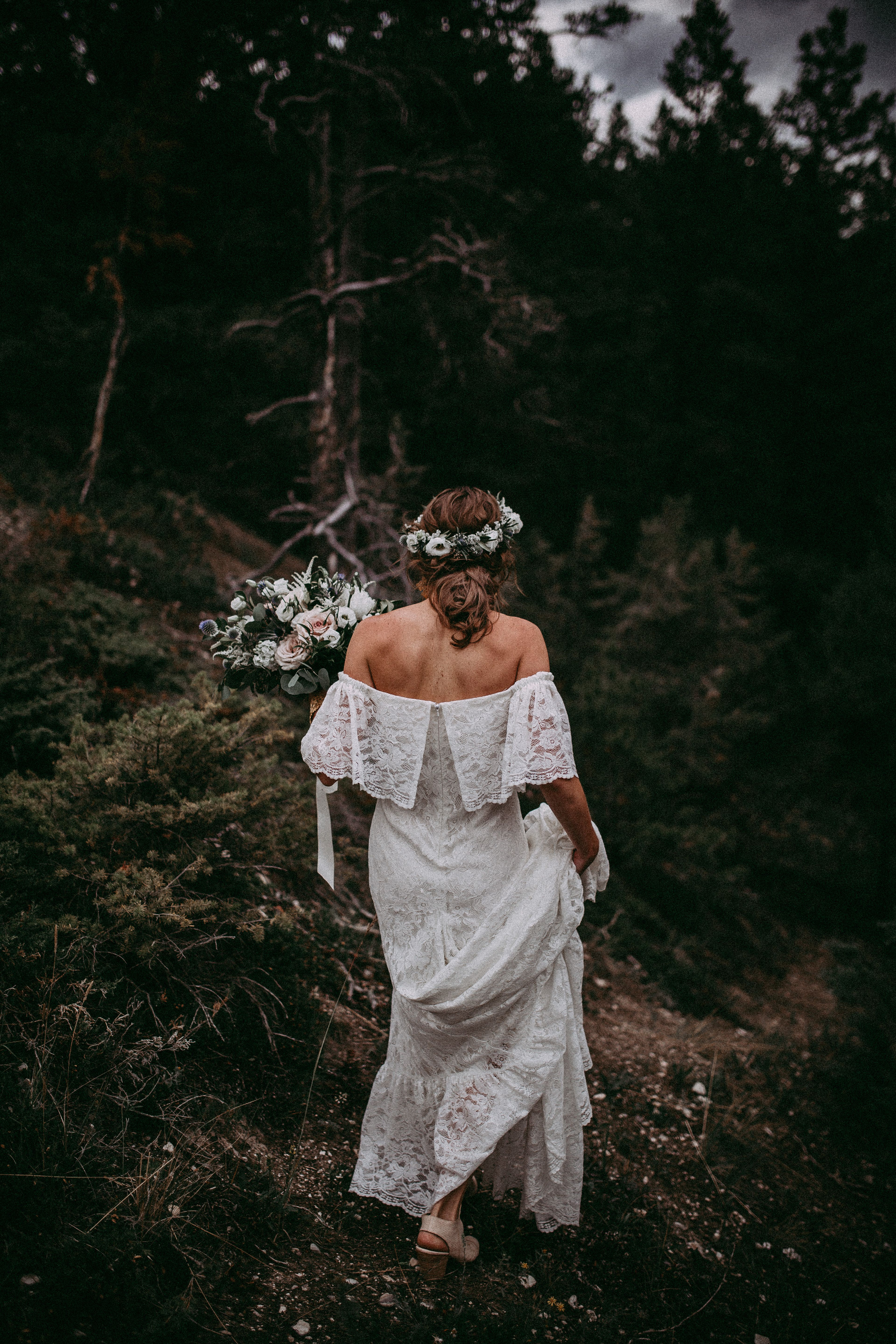 S inspired off the shoulder lace boho wedding dress