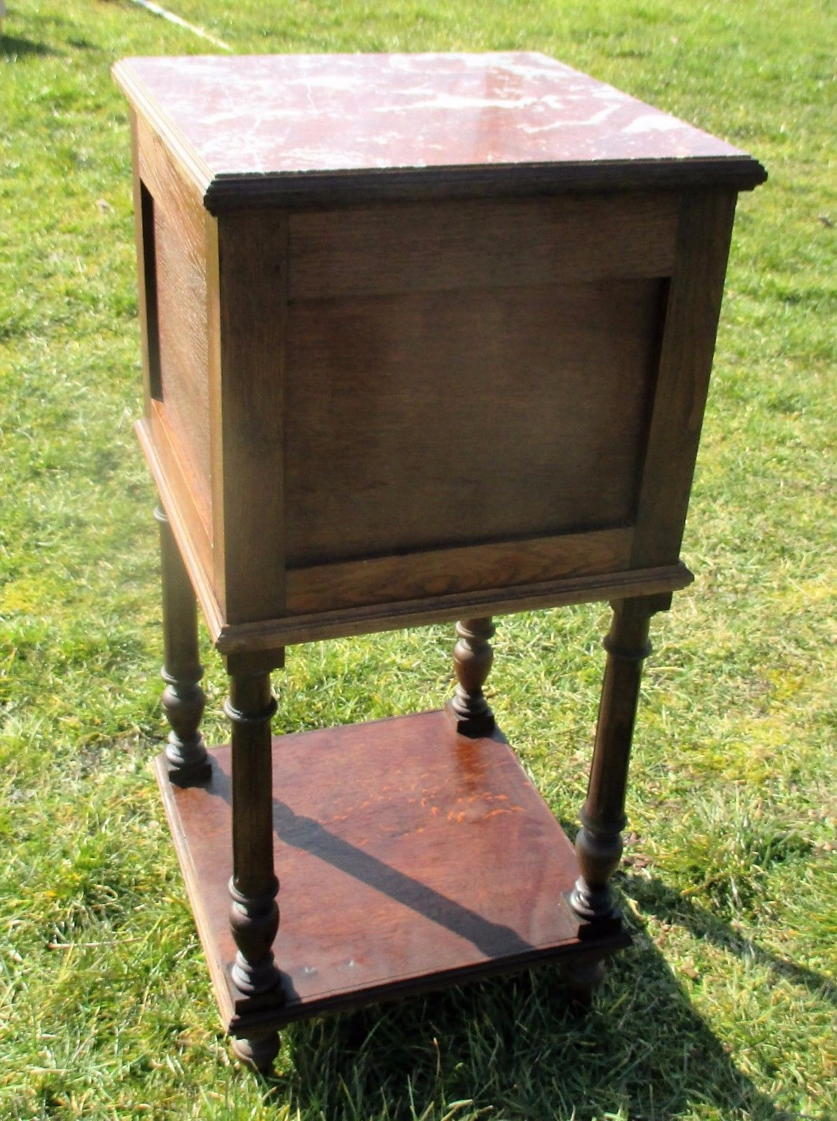 Details About Vintage Carved Wood Brown Marble Top End Table Drawer  Nightstand Drawer