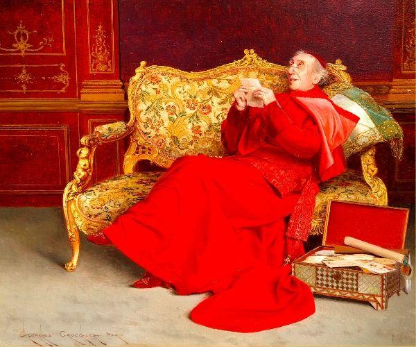Reminiscing by Belgian Painter Georges Croegaert 1848-1923