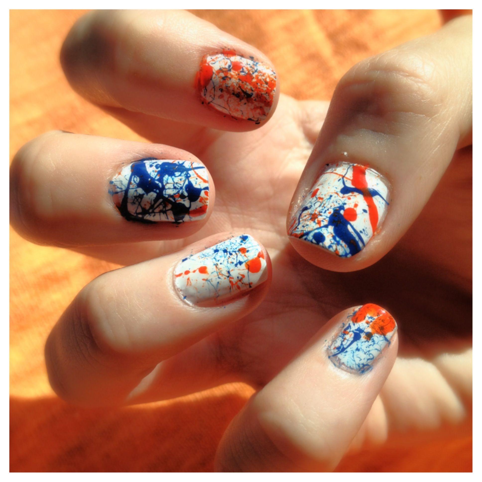 Denver Broncos blue and orange splatter nail art. For game day. Go ...