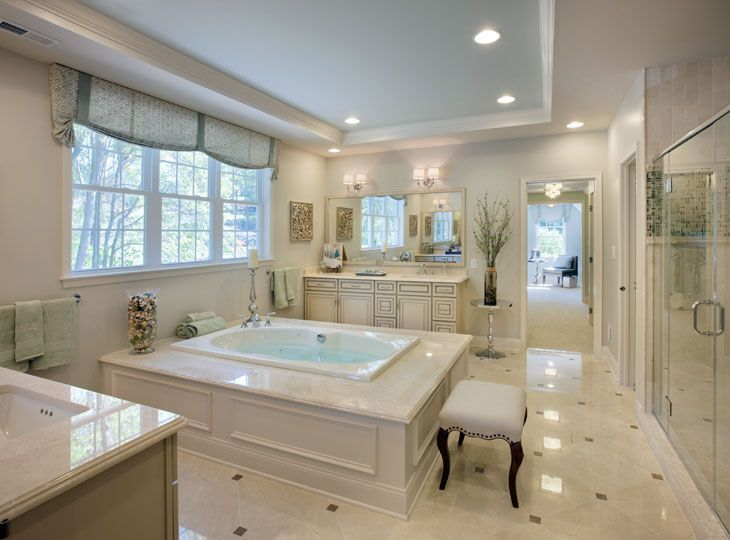 A Freestanding Tub Is An Inviting Focal Point In This Elegant Master Bath.  The Hampton Model From Toll Brothers. Newly Built Homes At Shenstone  Reserve.