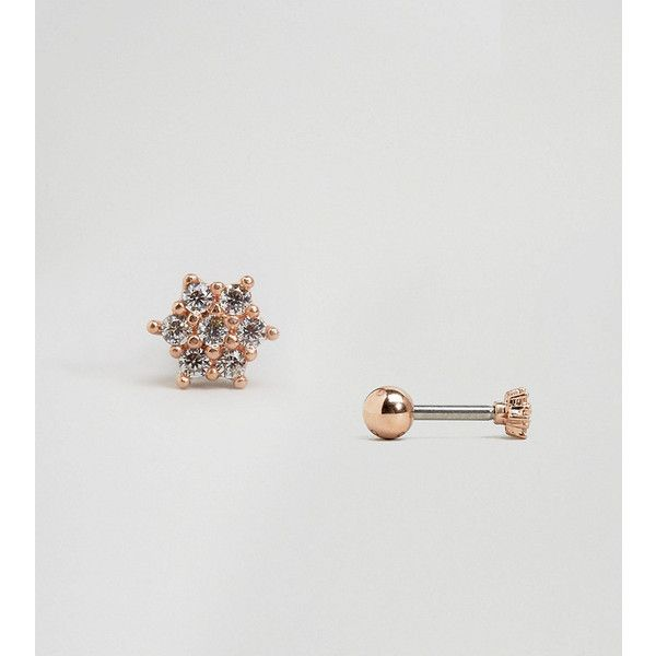 Orelia Rose Gold Plated Rose Flower Crystal Stud Earring 28