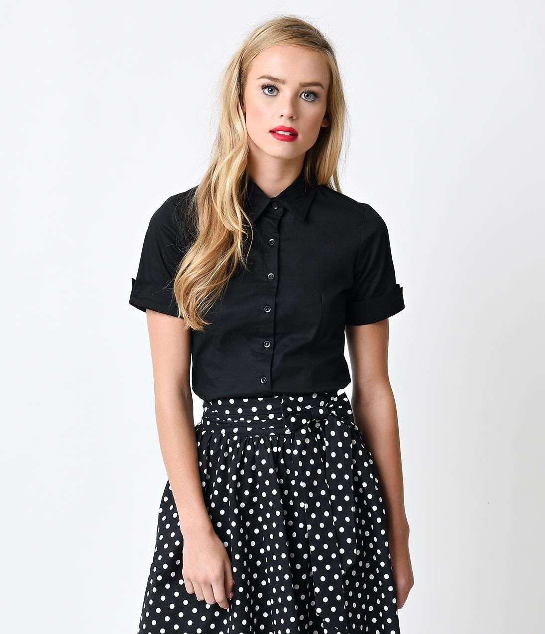 Black Collared Short Sleeve Button Up Blouse | This ...