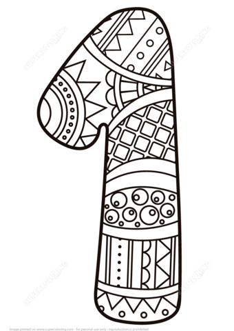 Number 1 Zentangle Coloring Page Free Printable Coloring Pages Coloring Pages Coloring Books Mandala Coloring