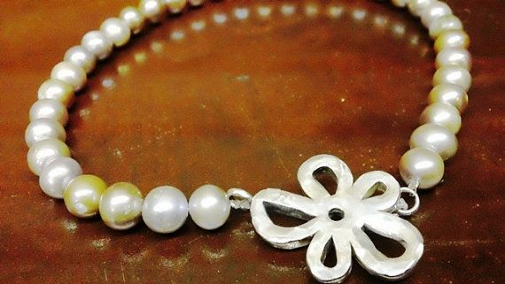 Hammered Sterling Silver Flower and Pretty Pearls Necklace  by PataSilverDesign