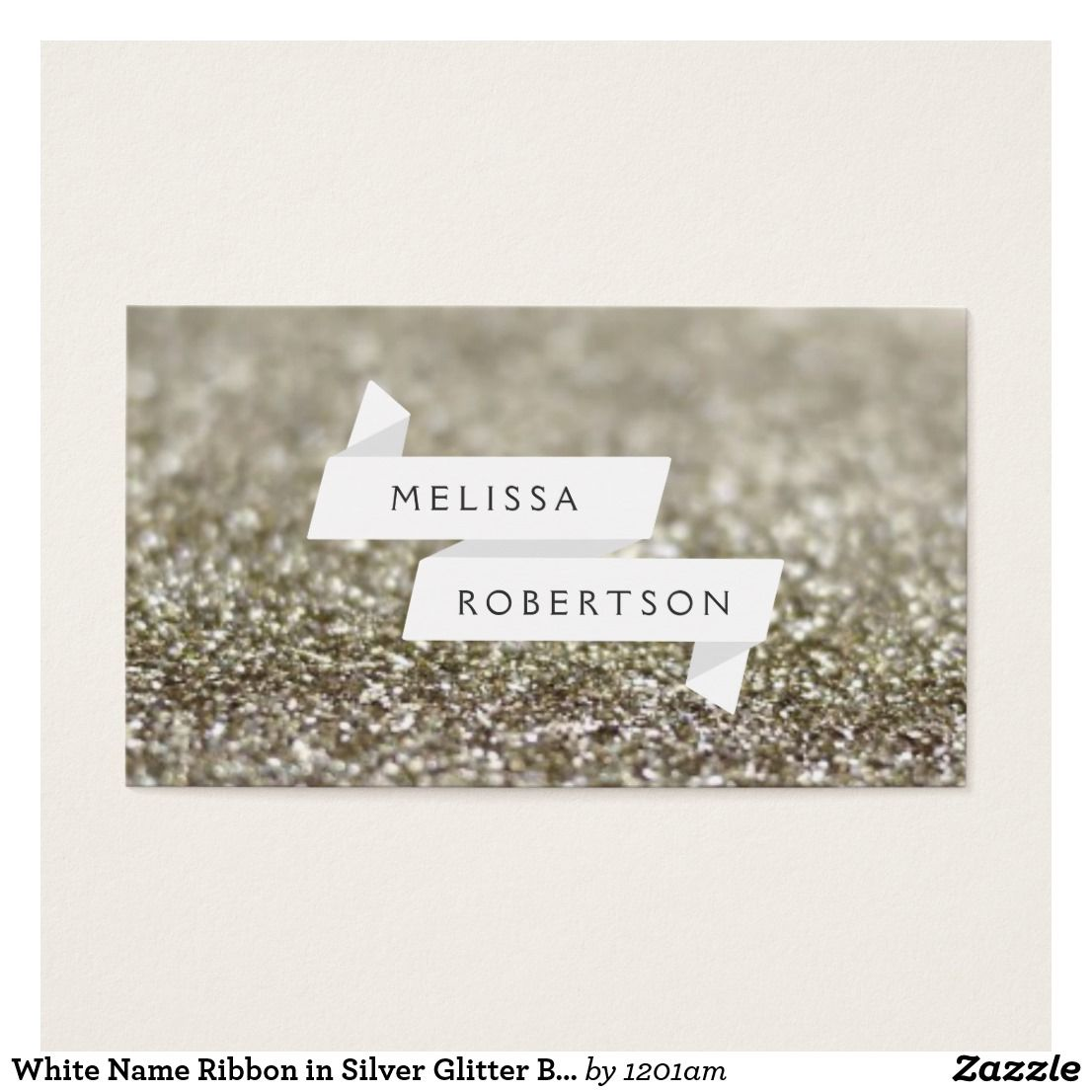 White Name Ribbon in Silver Glitter Business Card