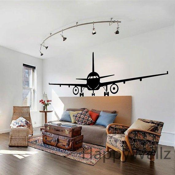 3d Stickers Muur.3d Vliegtuig Muurstickers Muraux Decor Vliegtuig Muur Sticker