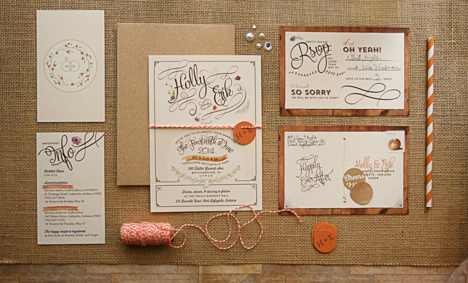 Rustic wedding invitations with kraft envelopes and chic typography