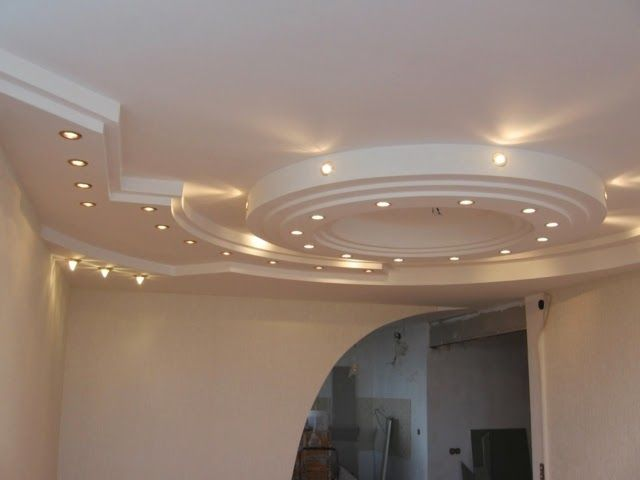 Gypsum Board False Ceiling Designs With Built In Suspended Lights