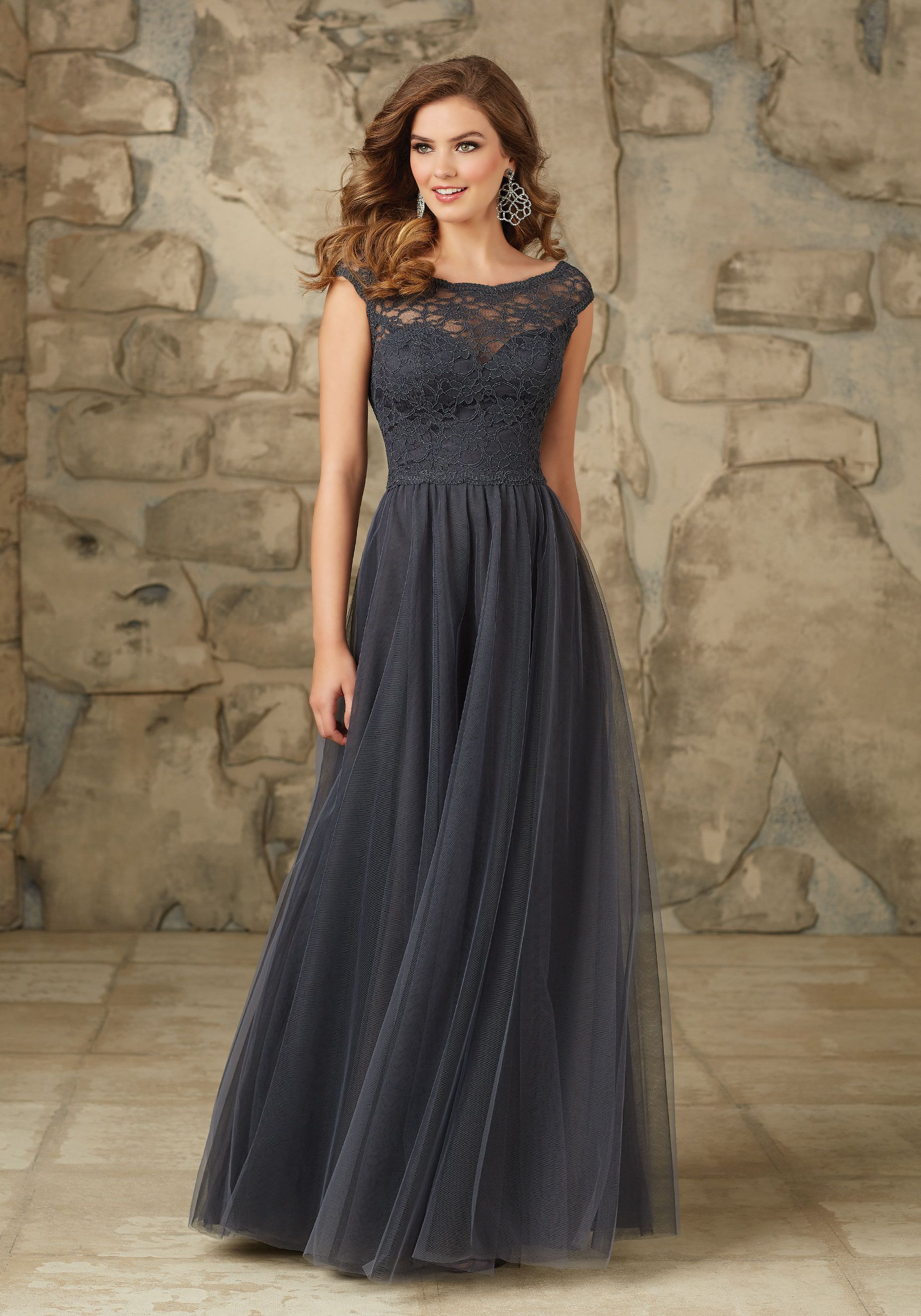 99a5bee932 Long and Elegant Lace and Tulle Bridesmaid Dress in Grey. Cap sleeves.  Morilee | Madeline Gardner Style 111.