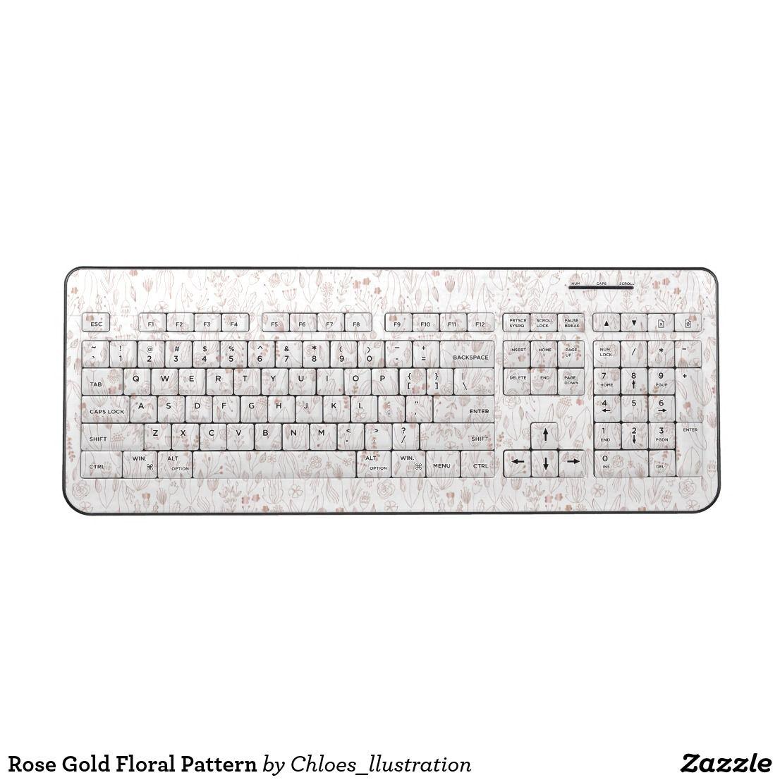 Rose Gold Floral Pattern Wireless Keyboard Zazzle Com Cute Hand