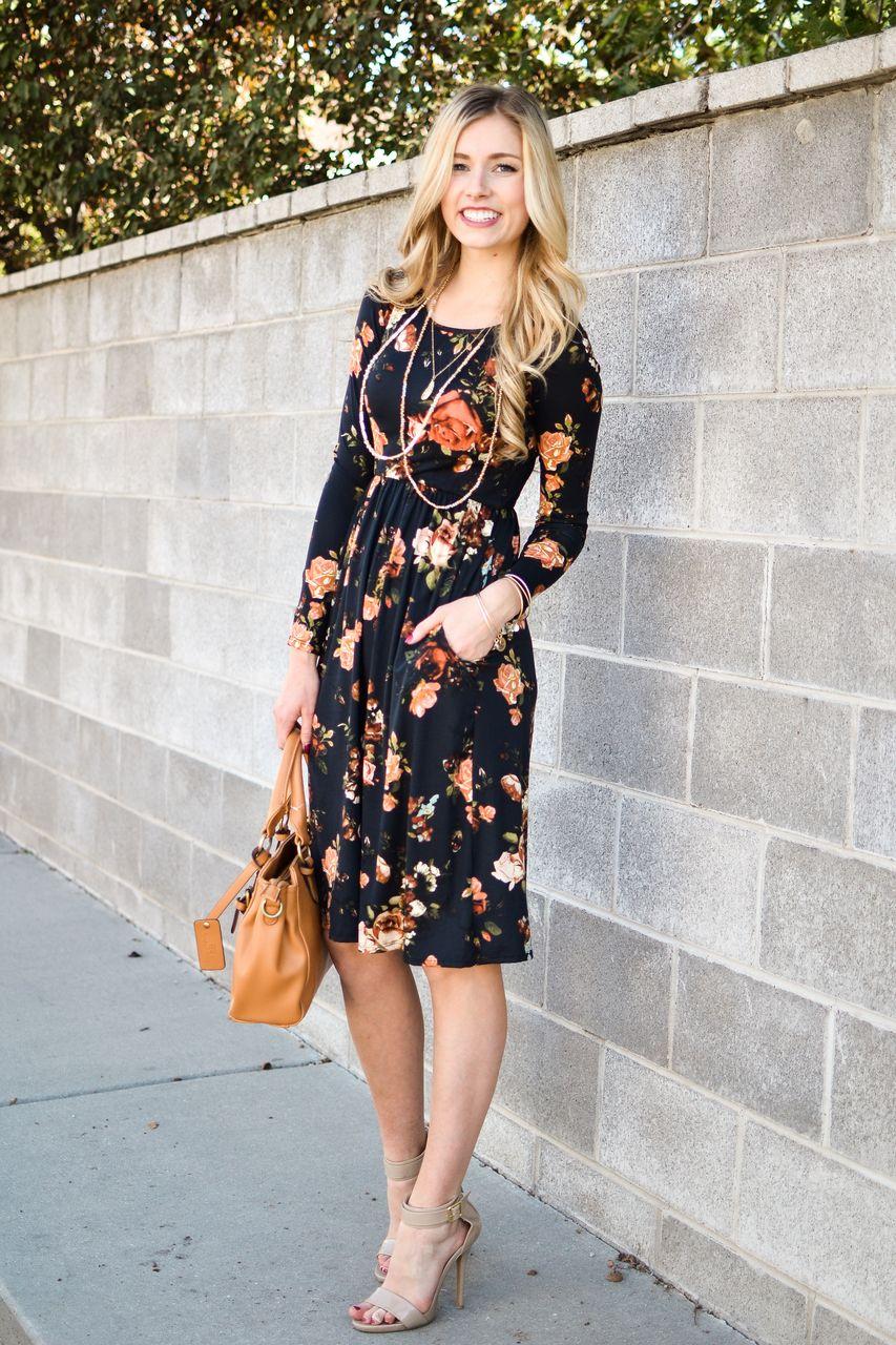 30 Black Floral Long Sleeve Dress Floral Dresses With Sleeves Womens Boutique Dresses Womens Floral Dress [ 1280 x 853 Pixel ]