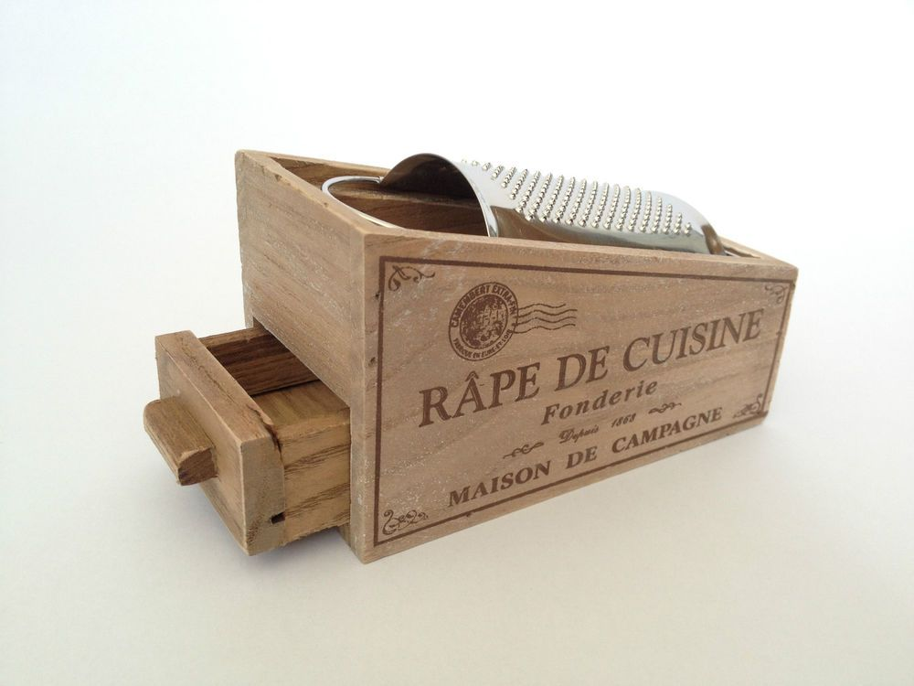 French Style Parmesan Cheese Grater Wooden Box Vintage Chic Tray Nutmeg Holder Wooden Boxes Vintage Chic Cheese Grater