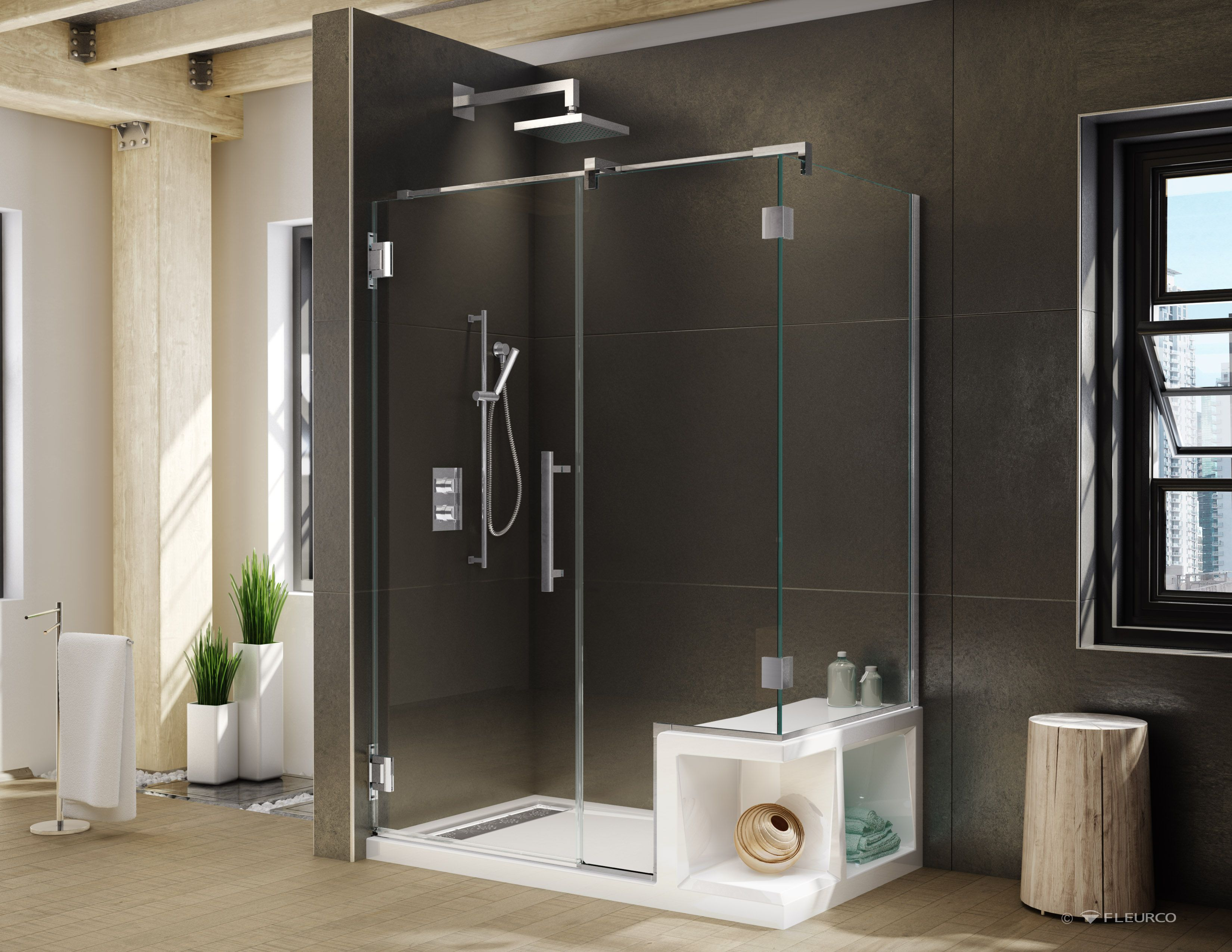Corteros Shower Base With Seat With Titan Shower Door Both Products By Fleurco Shower Base With Seat Shower Doors Home Remodeling