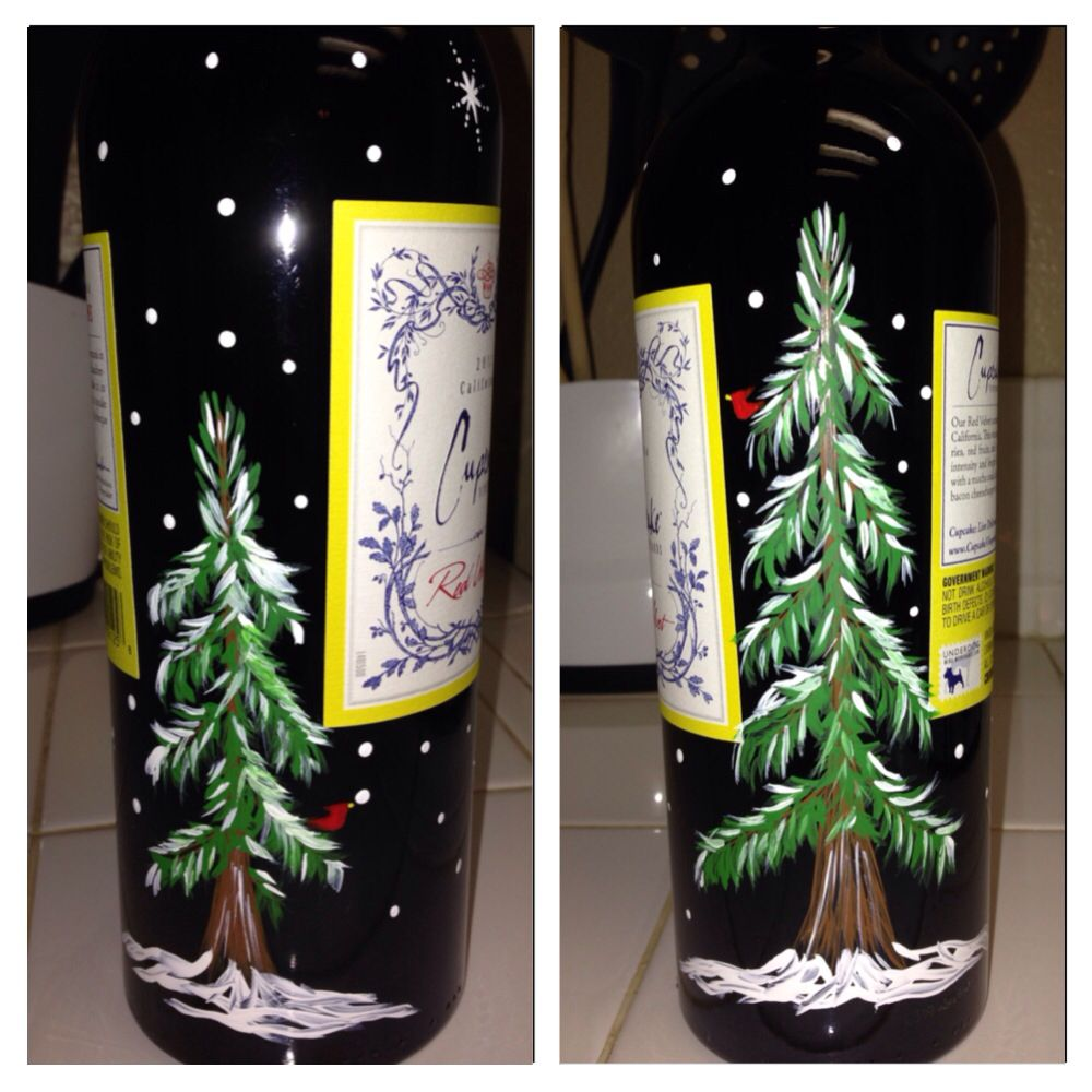 Painted wine bottle crafty pinterest for Painted wine bottles