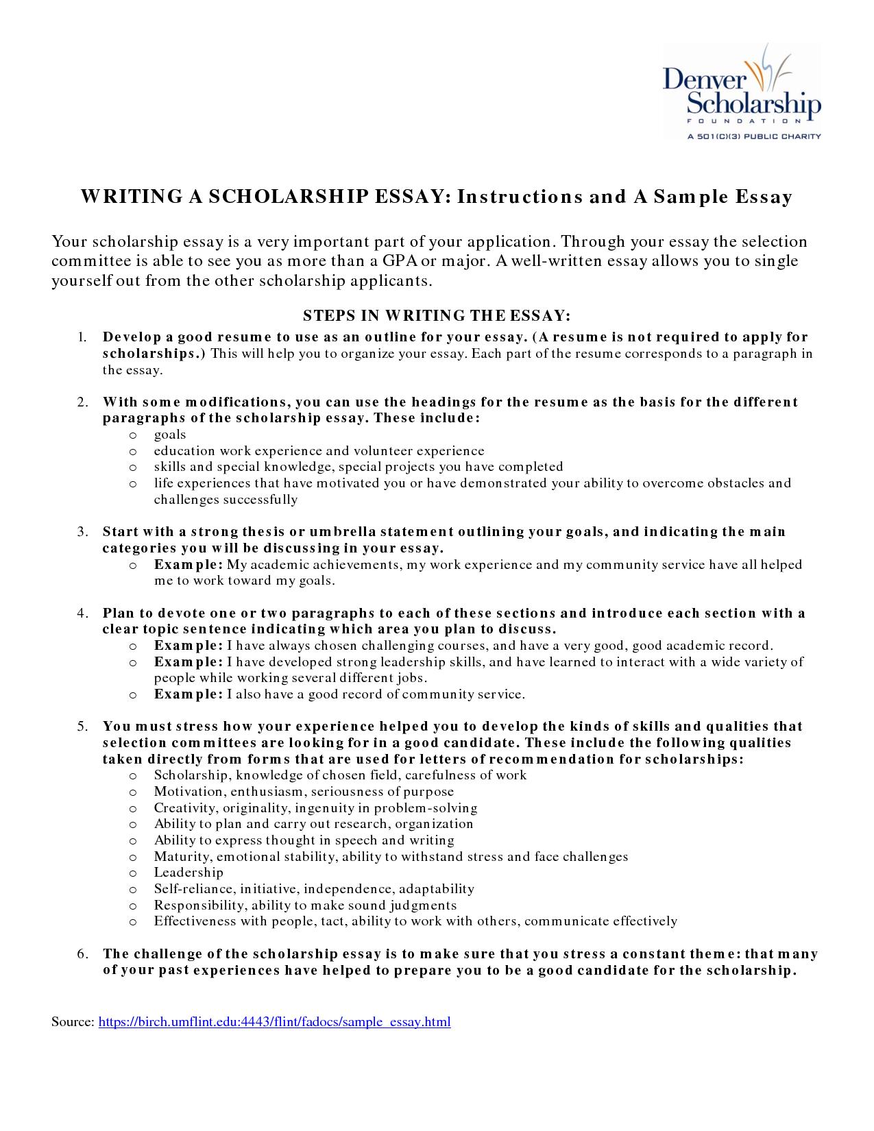 resume achievements scholarship