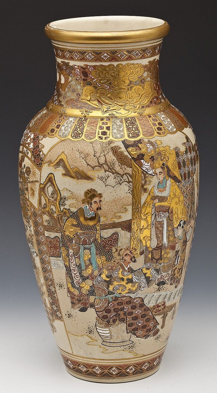 A Large And Finely Decorated Japanese Satsuma Vase Baluster Form Decorated With Enameled Scenes