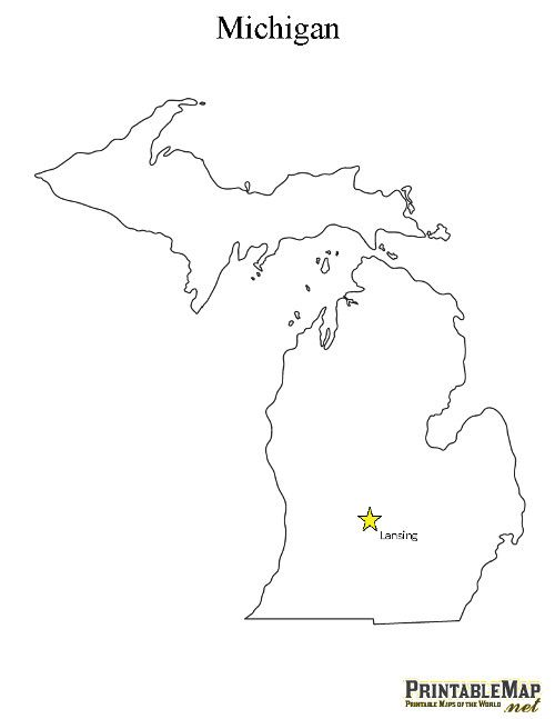 Printable State Capital Map of Michigan | Michigan | Map of