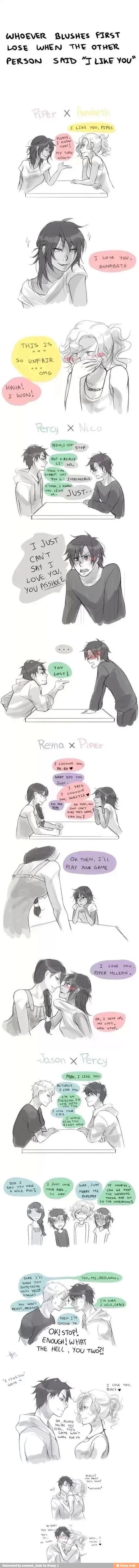 Blushing Game Pjo Hoo Style Percy And Jason Omgs Percy Jackson Percy Jackson Books Percy Jackson Funny