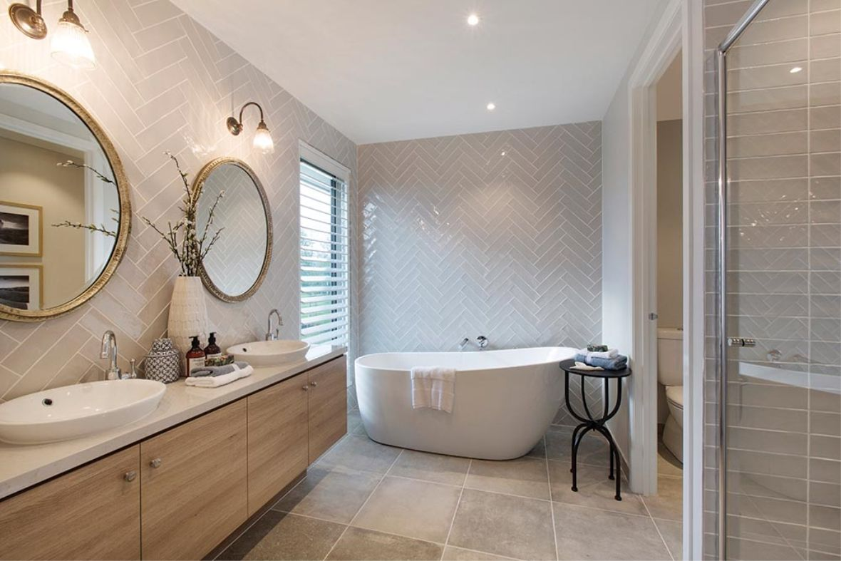 The tub is wonderful so is the glass tile bathrooms neutral