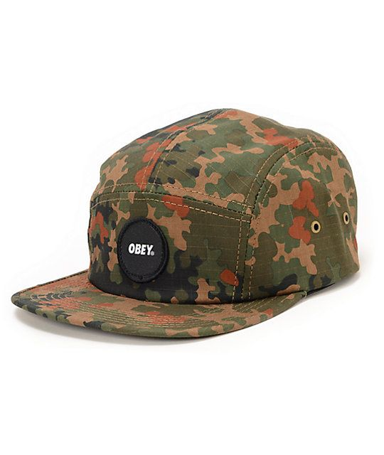 126b8f48d91 Cop a new lightweight and comfortable hat loaded with camo styling with the  Obey Circle Patch