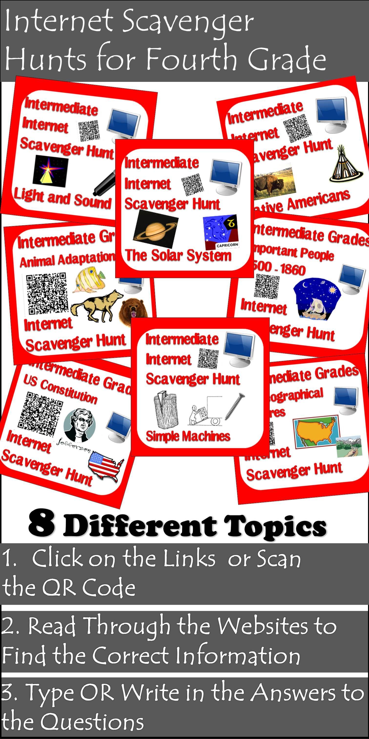Scavenger Hunt Packet Fourth Grade Teaching