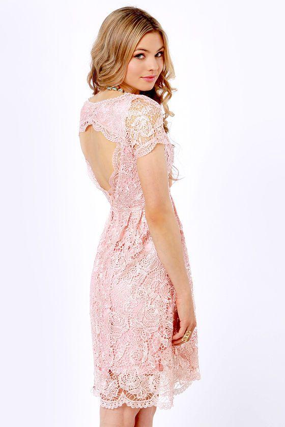 e63c0afa88a Genteel Breeze Backless Blush Pink Lace Dress