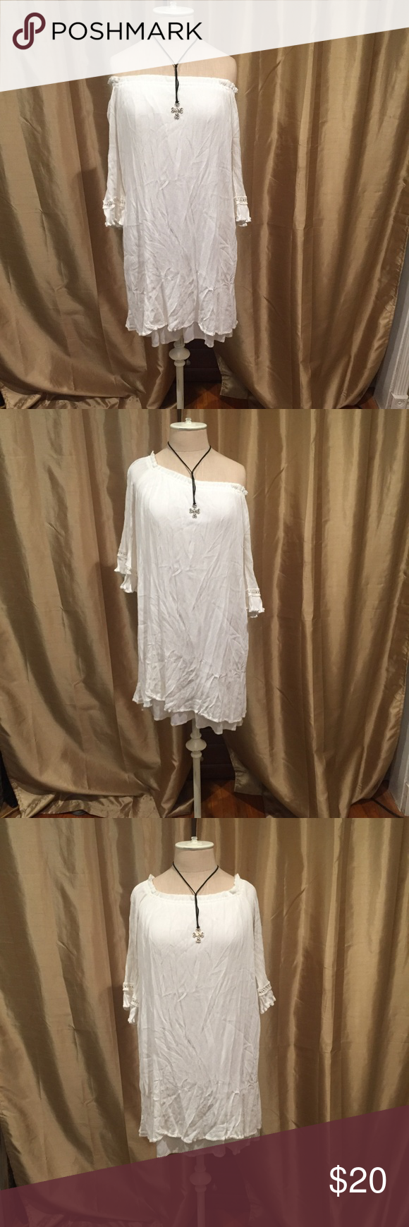 NAiF White Gauze Dress (L) *Necklace not included (for sale under Jewelry)  Dress is lined.  Can be worn off the shoulder, one shoulder or both should…
