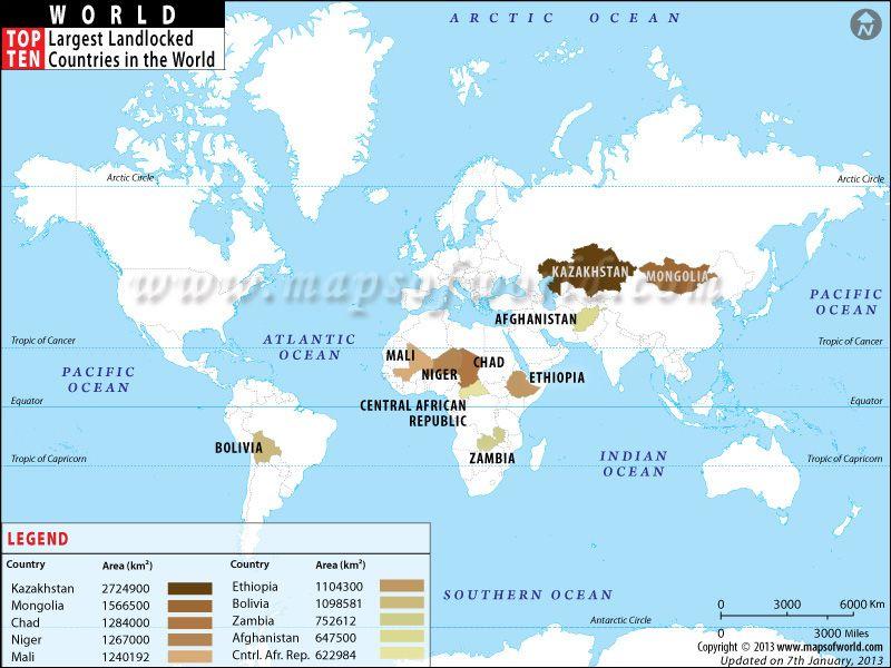 Top Ten Largest Landlocked Countries World Top Theme Map - Top ten religions in world