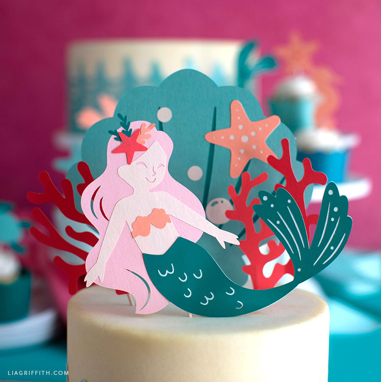 Cute Easy Diy Mermaid Cake Toppers Wrappers Lia Griffith Mermaid Diy Mermaid Cake Topper Diy Cake Topper