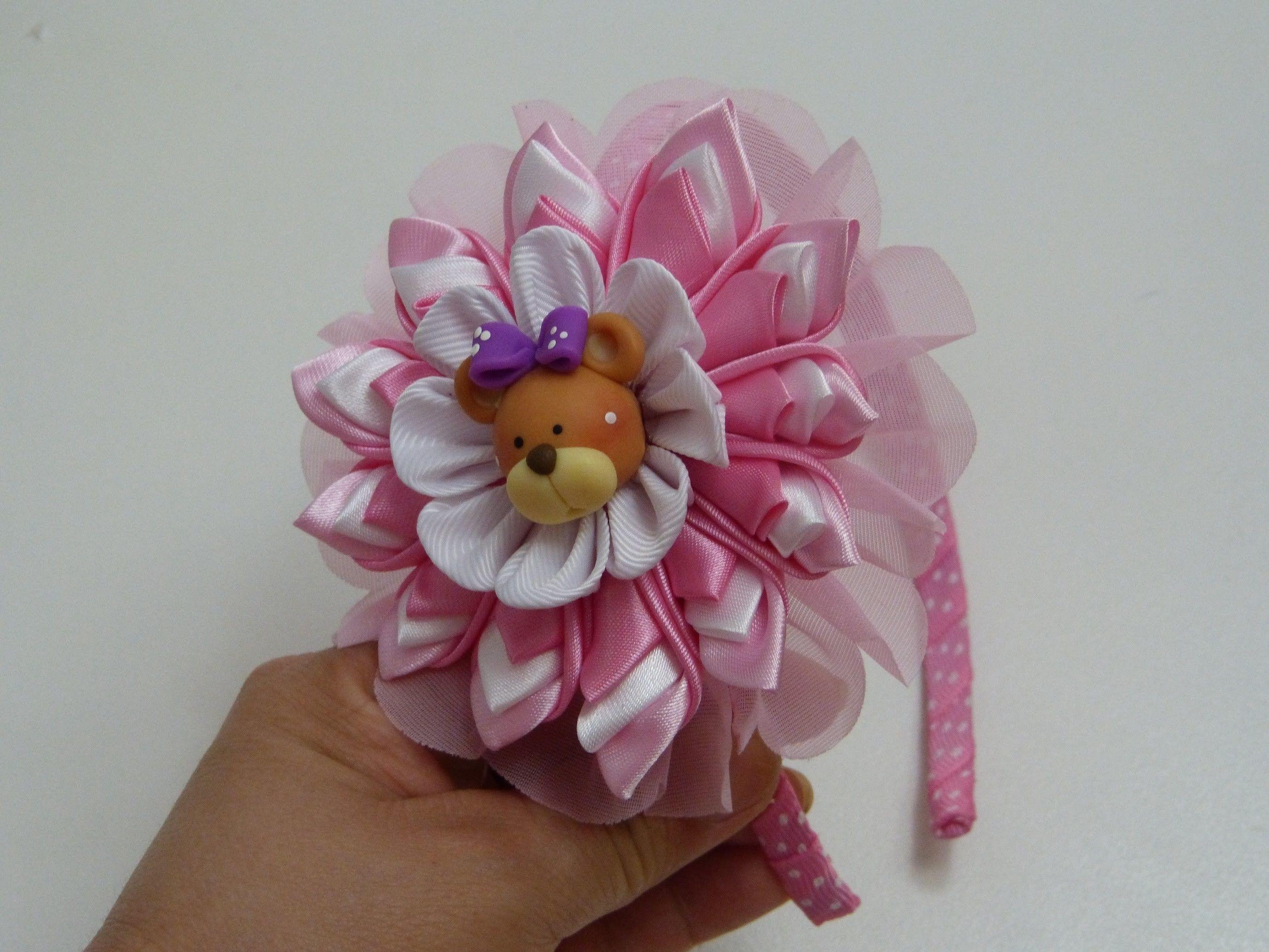 Como hacer faciles flores kanzashi en tela para diademas - Como hacer diademas ...