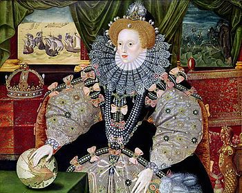 Queen Elizabeth I of England -Portrait of Elizabeth to commemorate the defeat of the Spanish Armada (1588), depicted in the background. Elizabeth's hand rests on the globe, symbolising her international power. .