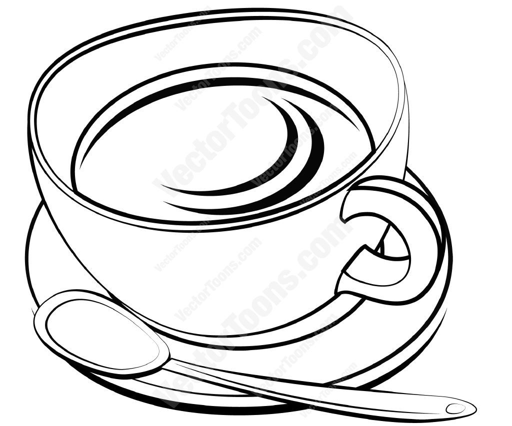 Tea Cup And Saucer With A Spoon Vector Illustrations Tea Cups