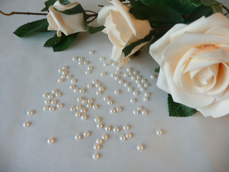 1000 5mm Wedding Table Confetti Flat Back Pearls Ivory Ebay