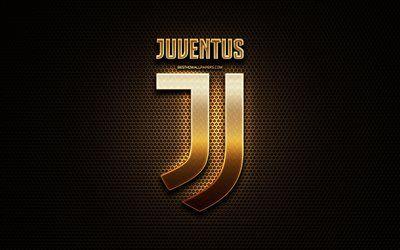Juventus FC, glitter logo, Serie A, italian football club, metal grid background, Juventus glitter logo, football, soccer, Juventus, Italy