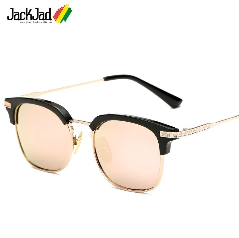 JackJad 2017 New Fashion NOMAD Style Half Metal Frame Square Sunglasses  Women Men Brand Design Sun 1ebdbc62bd05