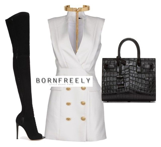 """""""Untitled #1118"""" by bornfreely on Polyvore featuring Balmain, Gianvito Rossi, Yves Saint Laurent and Eddie Borgo"""