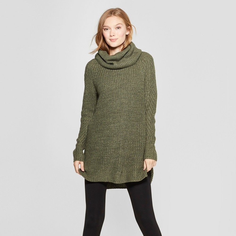 Women's Cozy Neck Pullover Sweater A New Day Olive (Green