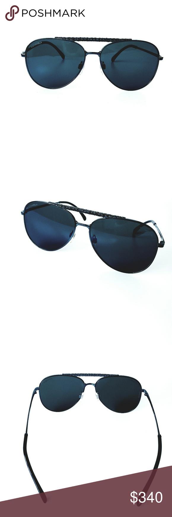 d71e022c4e Chanel 4231 Blue Aviator Pilot Men's Sunglasses Authentic Chanel ...