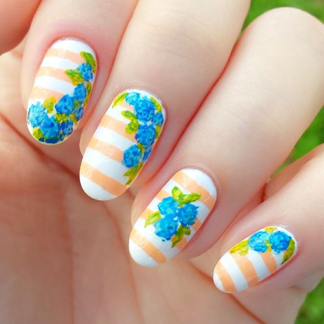 Day 1 Of Spring Floral Nail Art Challenge Wildflower And Stripes