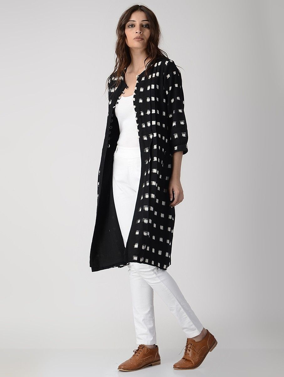 Buy Black Button Down Handwoven Ikat Cotton Kurta Jacket Women Jackets A  Spiffy Wardrobe dresses palazzos crop tops and more Online at Jaypore.com 3f9d20fe6