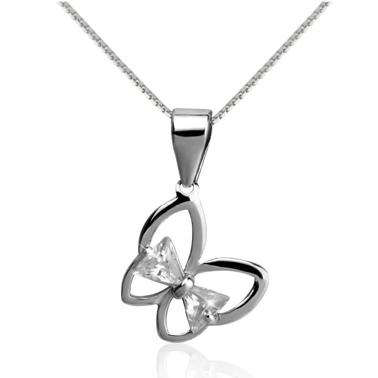 925 Sterling Silver Evening Fine Jewelry Butterfly Pendant Necklaces SKU-10802307