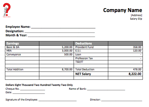 How To Create A Free Payslip Template In Excel Pdf Word Format How To Wiki Receipt Template Template Printable Templates