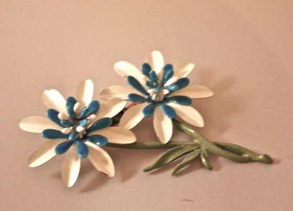 Double Bright Blue and White Daisy enamel by SVintageCollection, $15.00