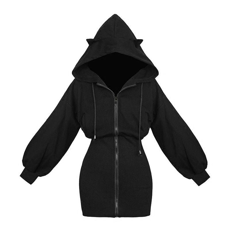 Womens Cat Ears Black Hoodie Long Sleeve Sweatshirt Cute Casual Hollow Out Pullover Short Tops Blouse Crop